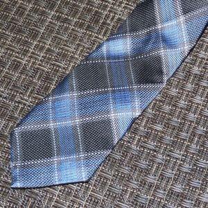 "Ben Sherman Blue Plaid Slim Silk 2.5"" Tie"